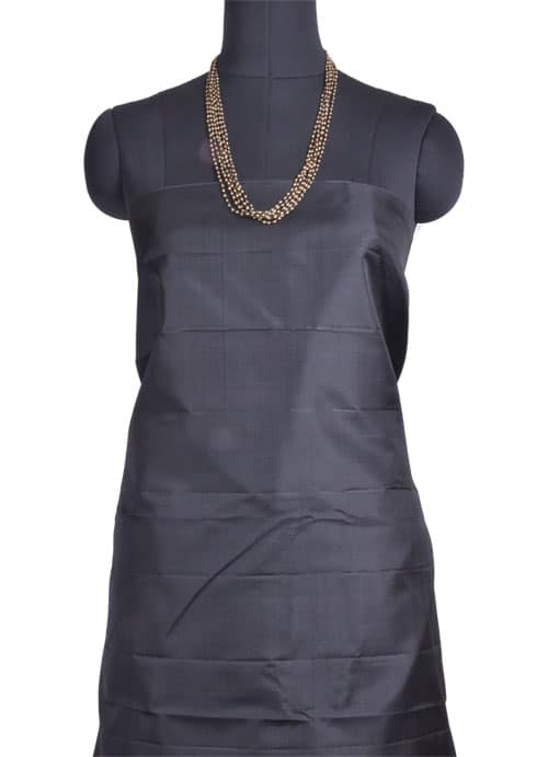 Grey kanchipuram silk saree with black korvai border-11051