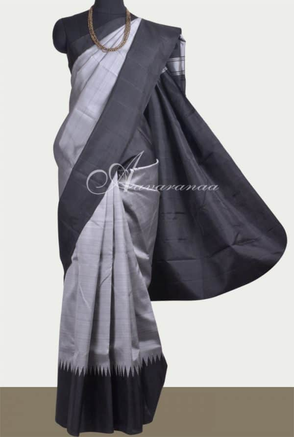 Grey kanchipuram silk saree with black korvai border-11050