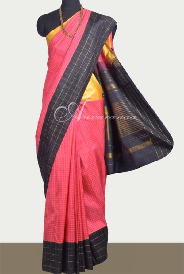 Pink& Orange checked kanchipuram silk saree with ganga jamuna border-0