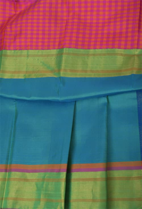 Black kanchipuram silk saree with tissue and checked border-11057