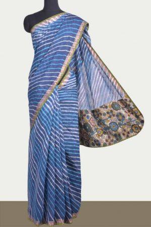 Indigo blue maheshwari saree with leheriya -0