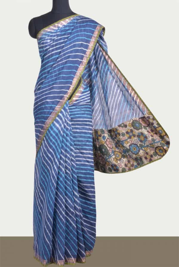 Indigo blue maheshwari saree with leheriya -0