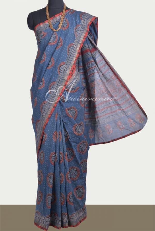 Indigo blue maheshwari saree-0