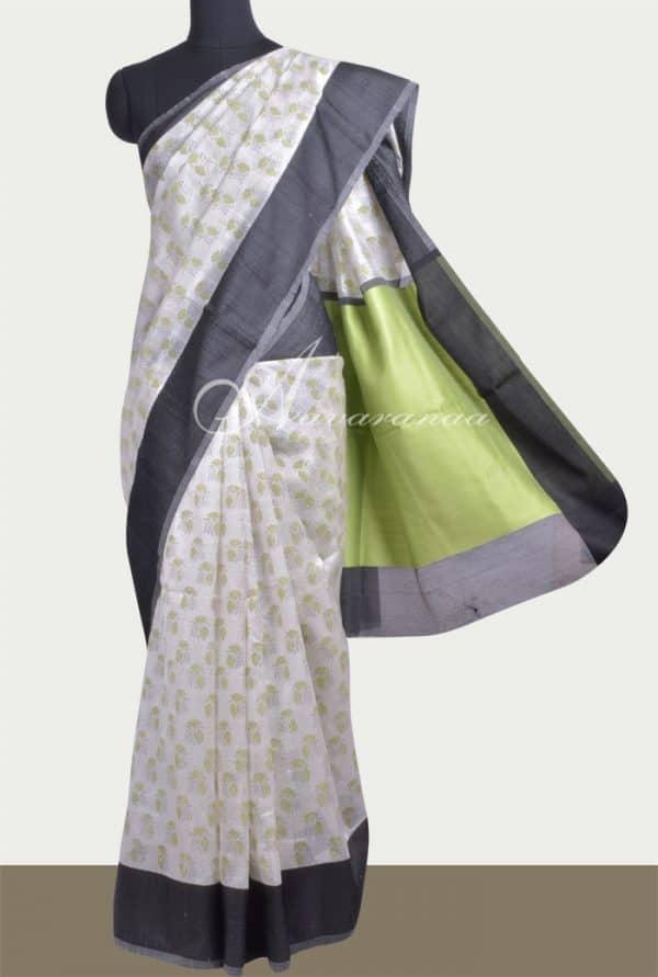 Off white matka silk saree-0