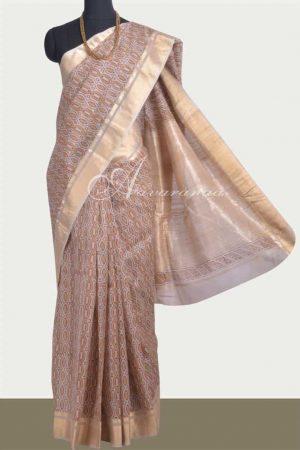 Beige maheshwari block printed saree-0