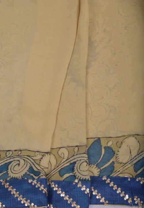 Beige hand painted kalamkari chiffon saree -11124