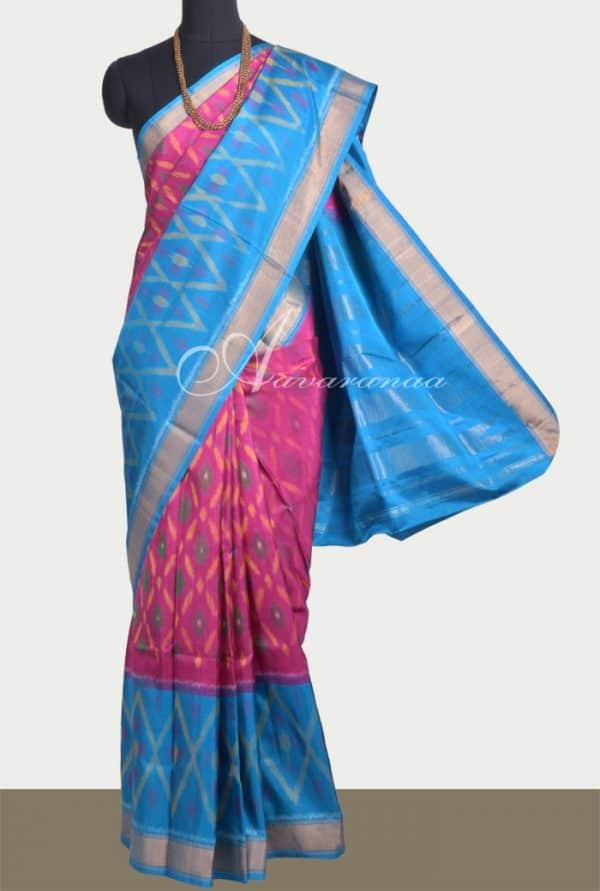 Pink and blue soft silk saree-0