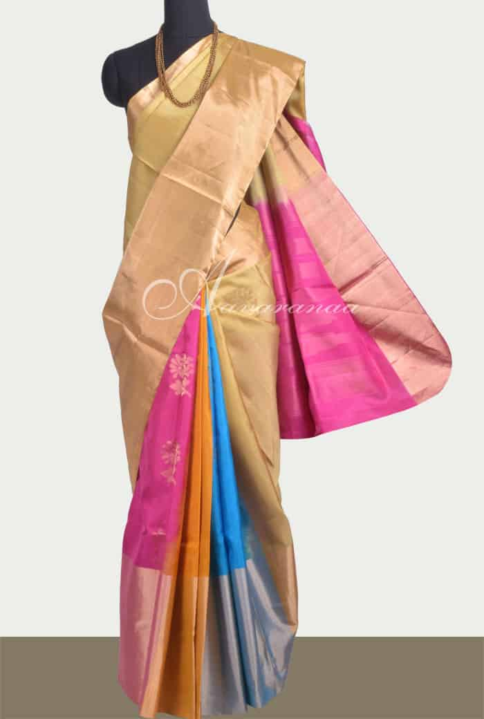 e7f4558445b Saree Multi colour partly pallu soft silk saree Sale Online Shopping