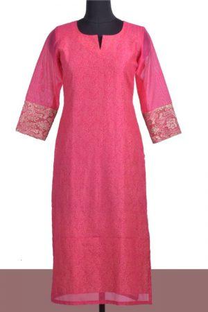 Pink chanderi layered kurta-0