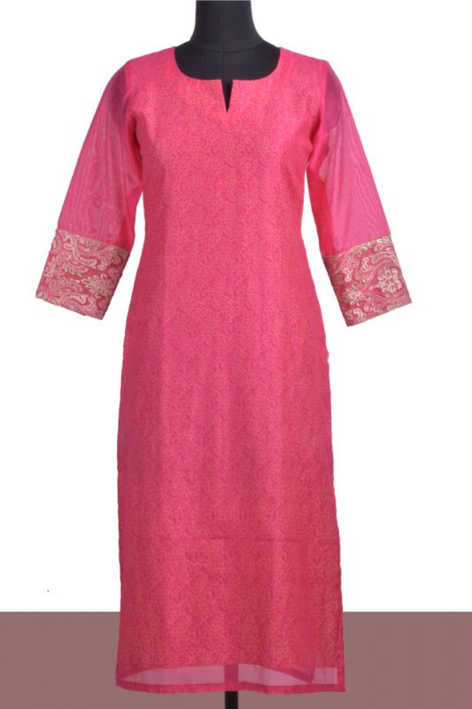 Pink chanderi layered kurta-0