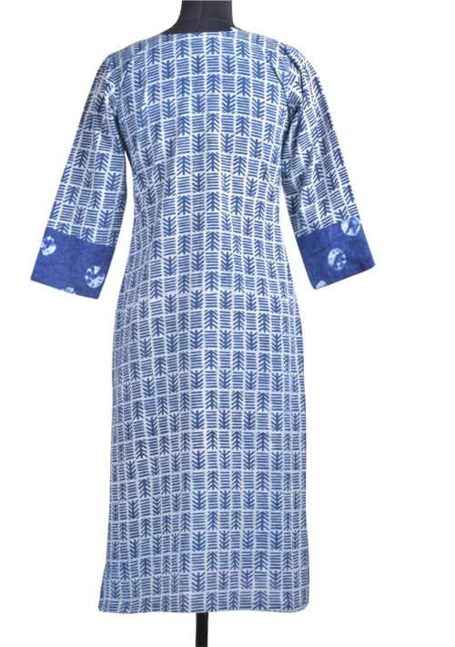 Indigo blue dabu multi pattern kurta-11897