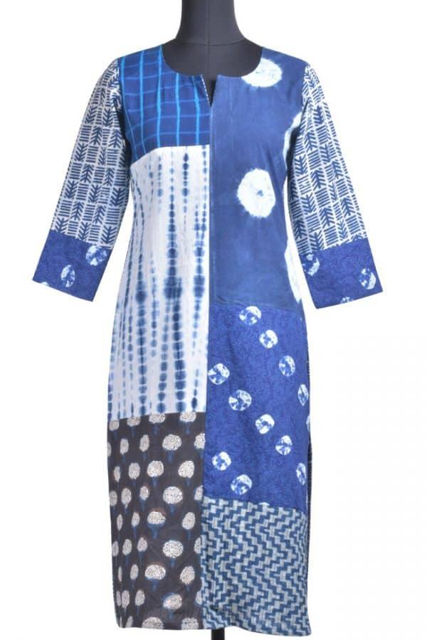 Indigo blue dabu multi pattern kurta-0