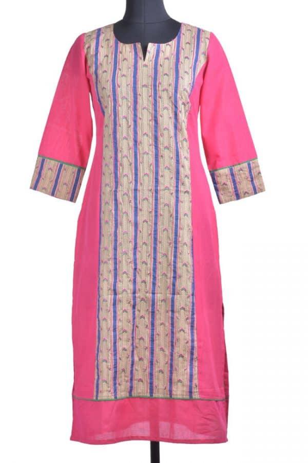 Pink cotton kurta with dabu panel-0