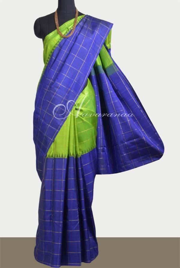 Royal blue and green half and half kanchipuram silk saree-0