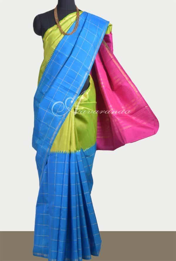 Parrot green and blue half and half kanchipuram silk saree-0