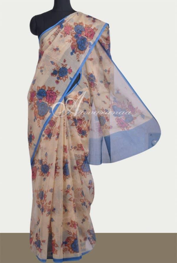 Beige with blue floral printed kota saree-0