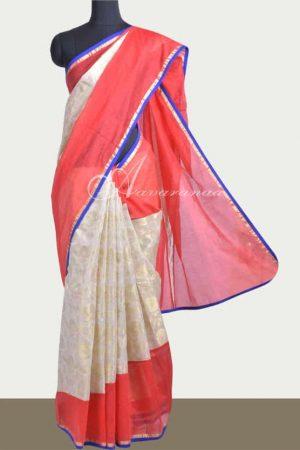 Off white zari kota with red chanderi saree-0
