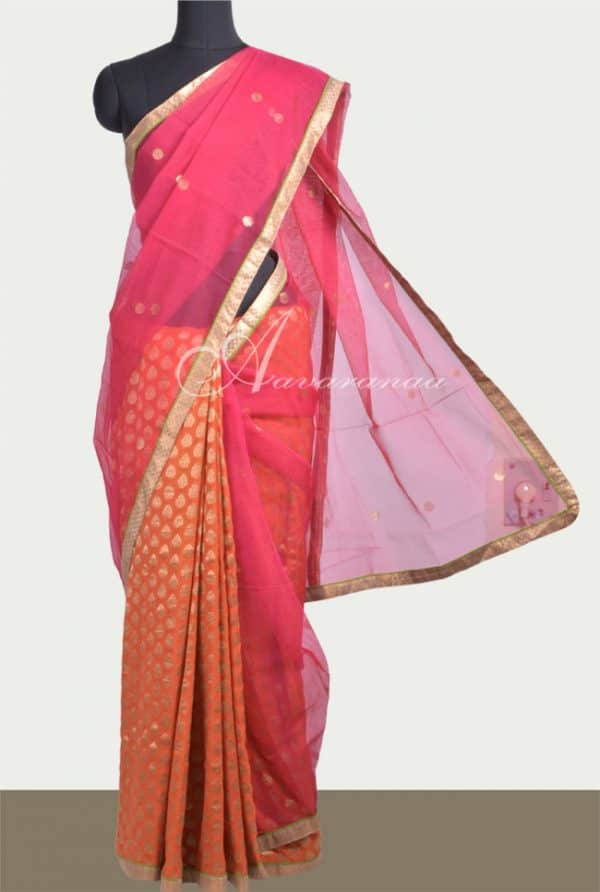 Pink net and orange georgette saree-0