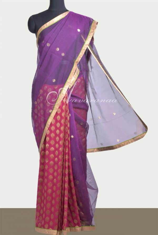 Violet net and pink georgette saree-0