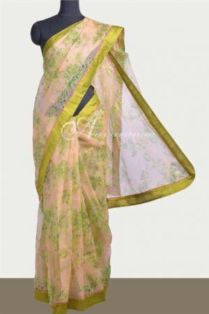 Peach Organza saree with green raw silk border-0