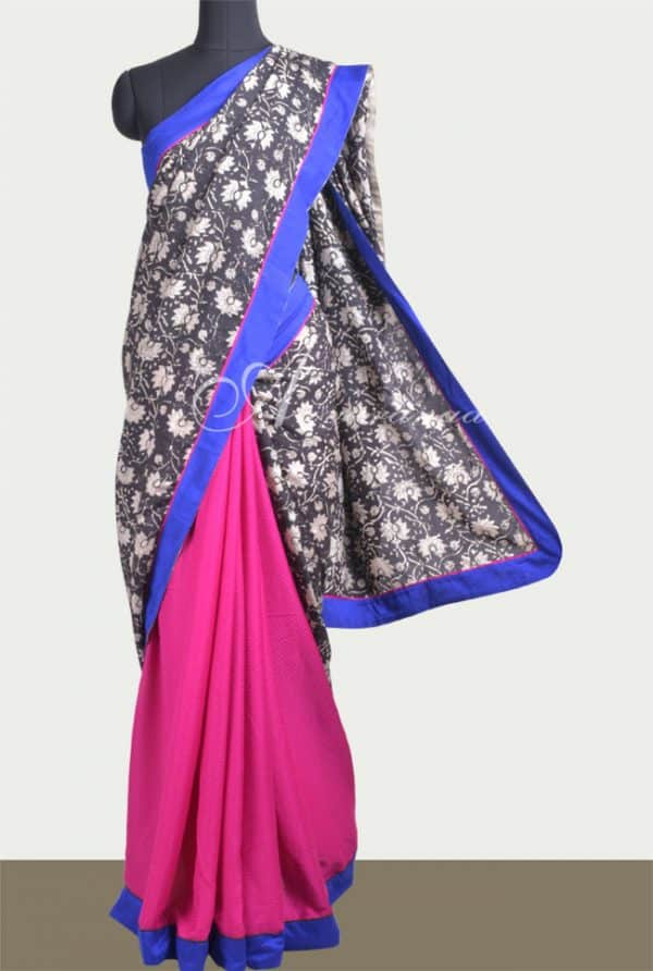 Pink crepe with black & beige printed assam silk saree -0