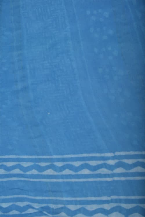 Blue dischanrge print chanderi saree -11956