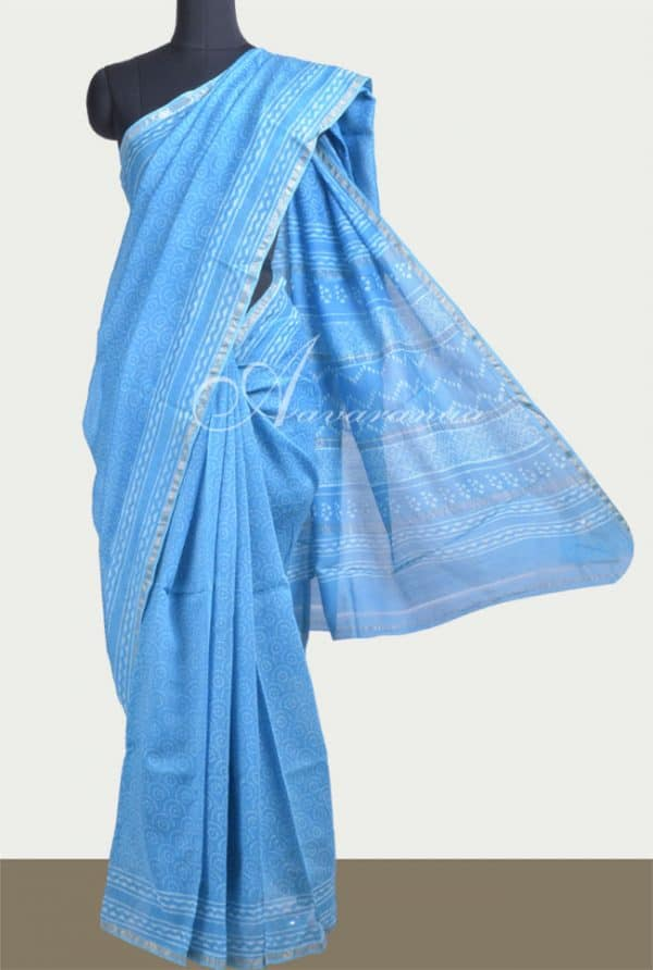 Blue dischanrge print chanderi saree -0