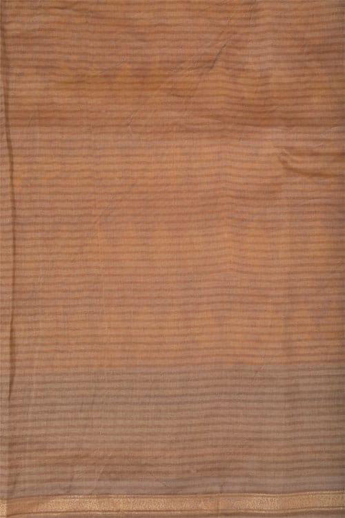 Mustard chanderi saree with beige border-11968