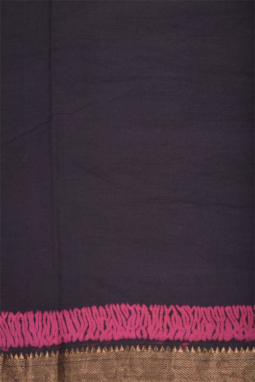 Black mangalgiri saree with shibori -11990