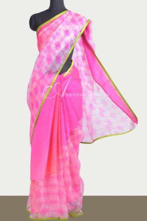 Shaded moonga tussar and organza rising pattern saree-0