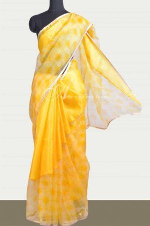 Yellow rising border organza saree -0