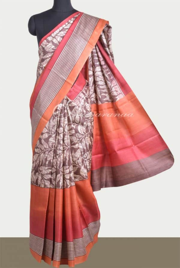 Brown with red and orange shaded border tussar saree -0