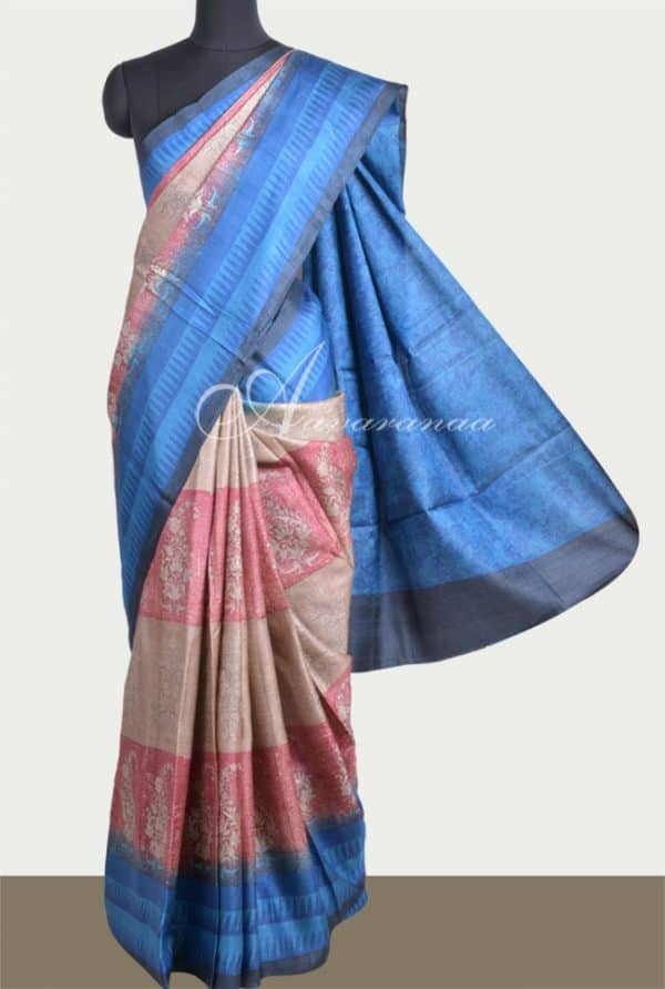 Beige and red tussar saree with blue border-0