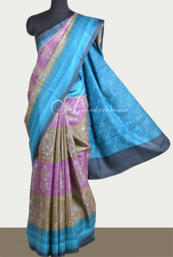 Grey and violet tussar saree with blue border-0