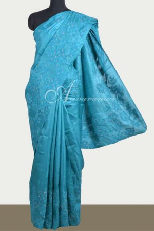 Blue tussar saree with applique work -0