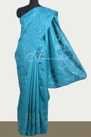 Blue tussar saree with applique work -0