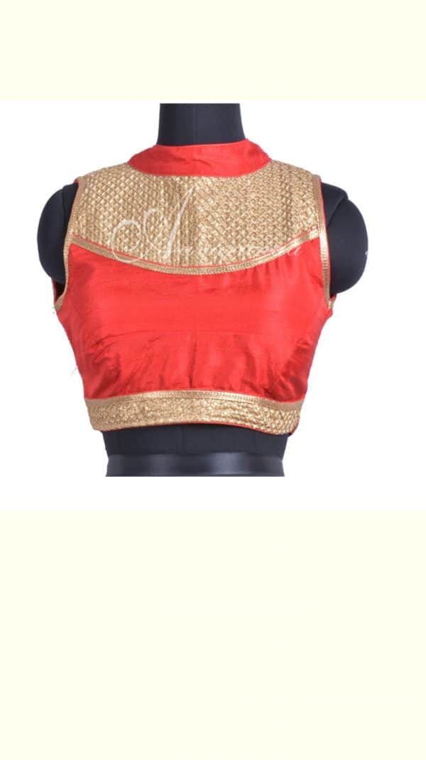 Crimson red raw silk blouse-0