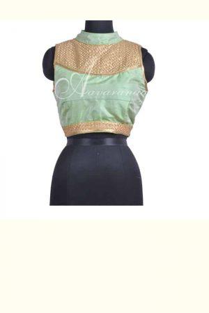 Pista green raw silk blouse-0