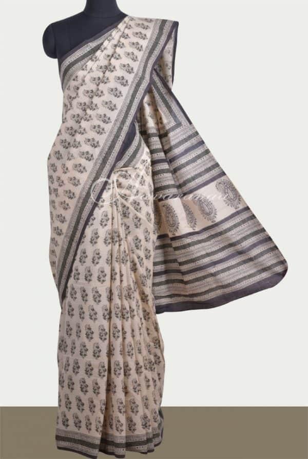 Beige bagru cotton saree-0
