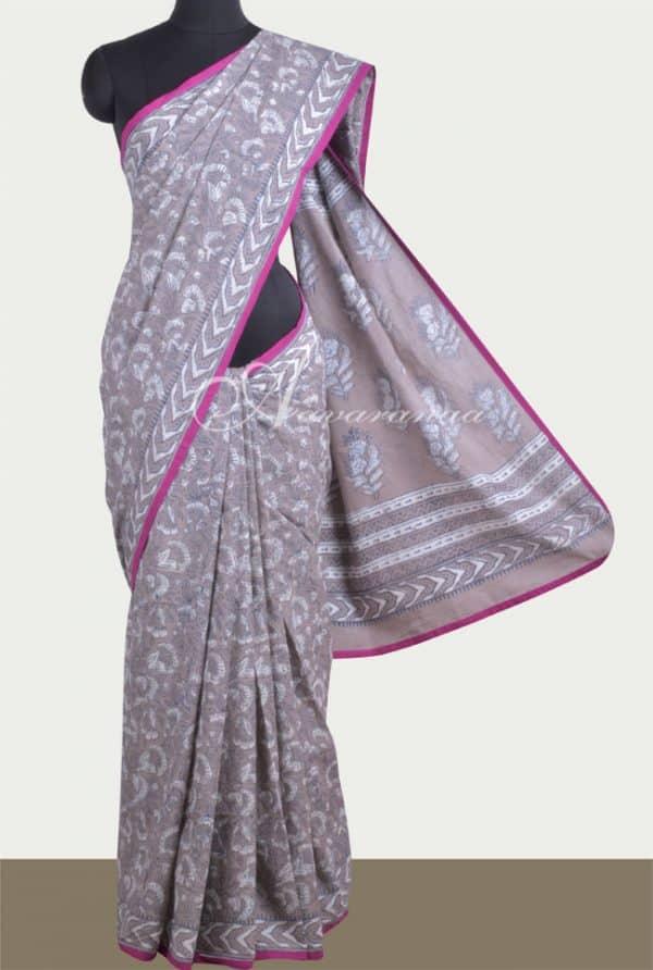 Light grey cotton saree-0
