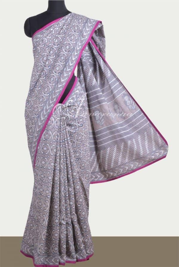 Grey cotton saree-0