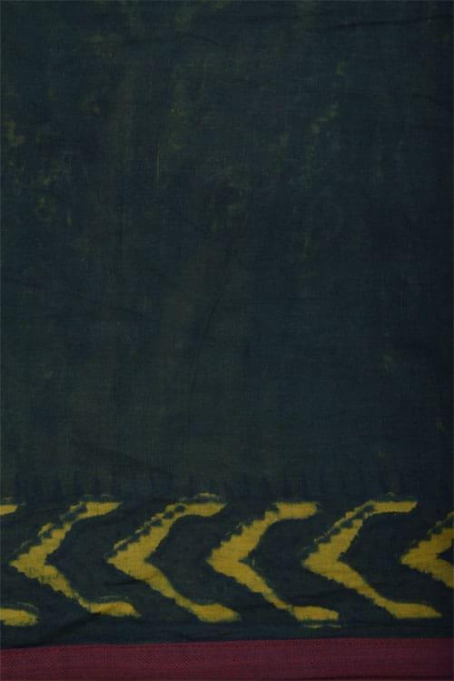Dark green cotton saree-12155