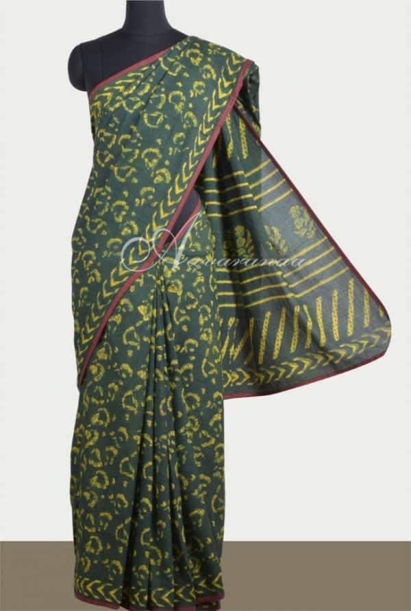 Dark green cotton saree-0