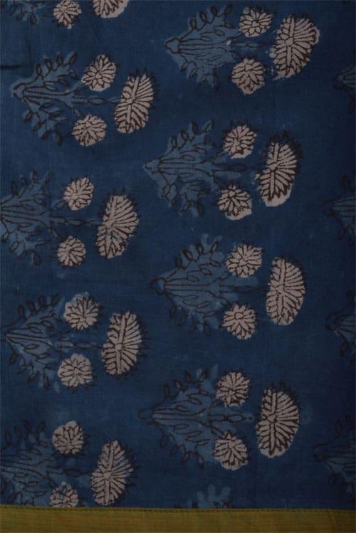 Beige & blue bagru cotton saree-12169