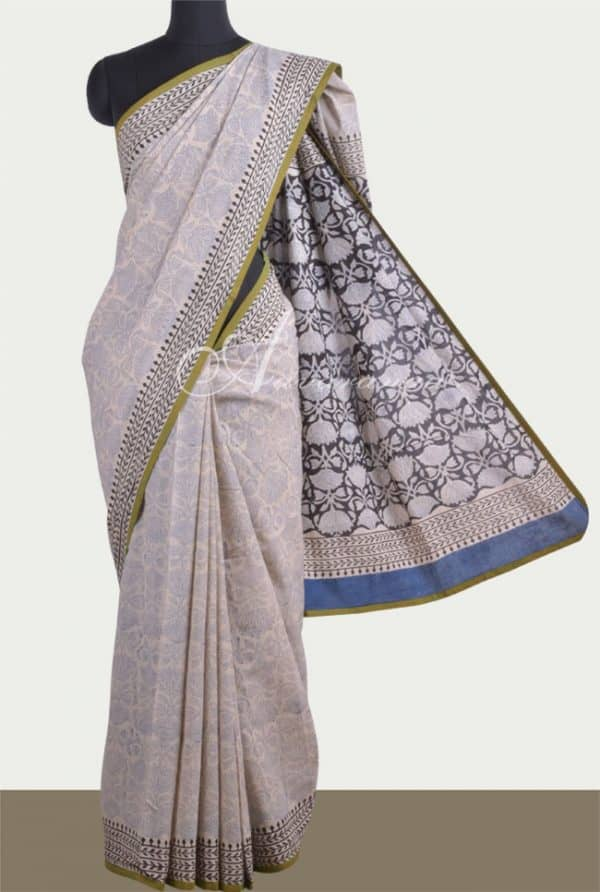 Beige & blue bagru cotton saree-0