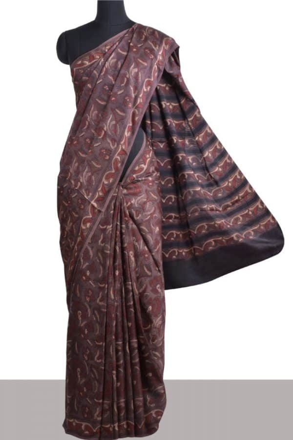 Brown and black modal silk saree-0
