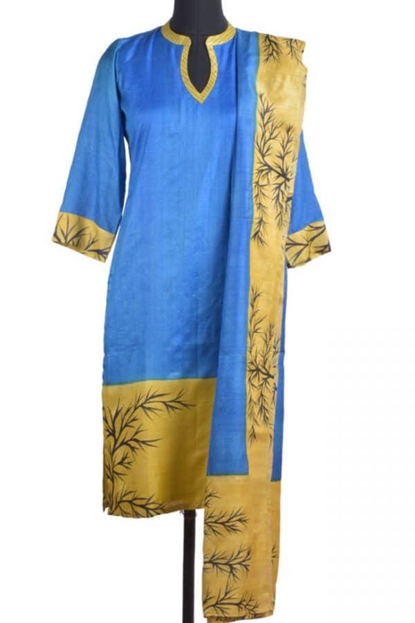 Blue & mustard tussar suit-0