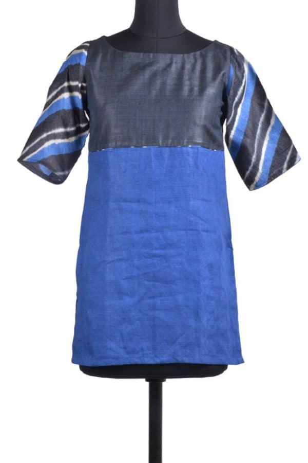 Blue & Black Tussar Short Kurta-0