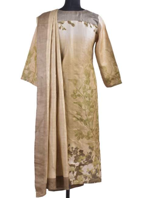 Shaded beige tussar suit-12268