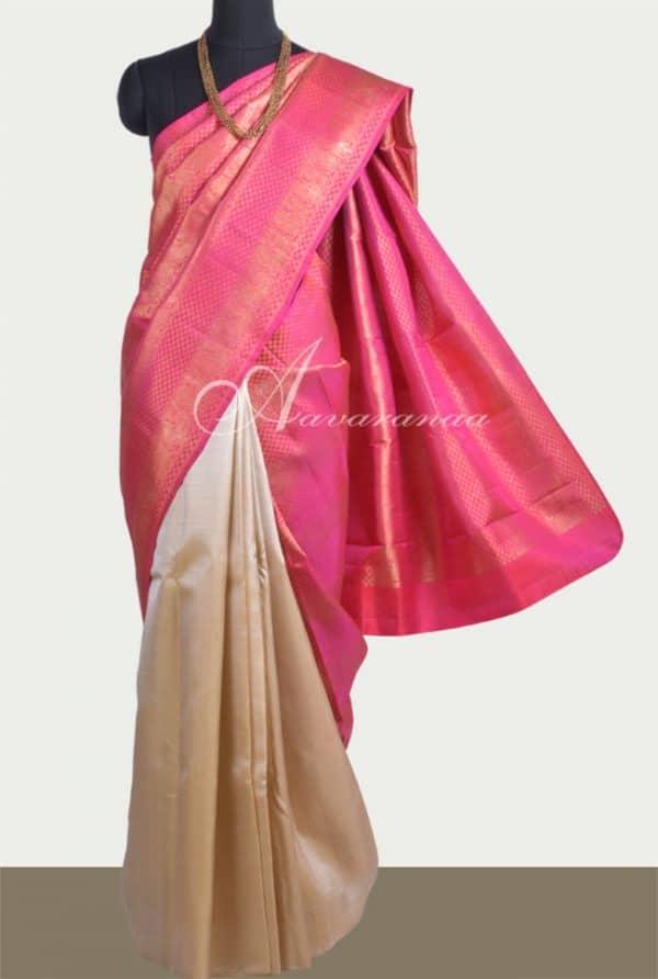 Beige and Pink kanchipuram silk saree-0